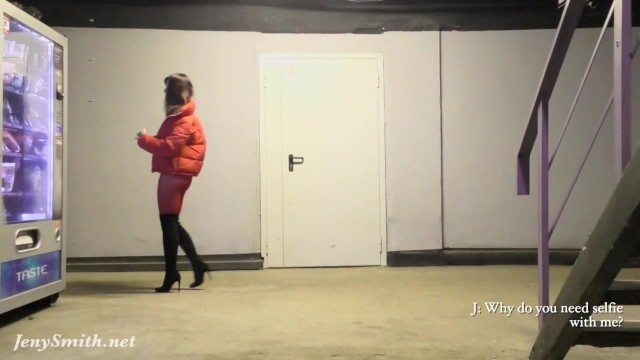 Red Tights. Jeny Smith public walking in tight red pantyhose (no panties)