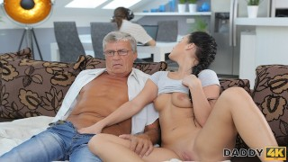 DADDY4K. Raven-haired angel Erica Black gets old and sexual