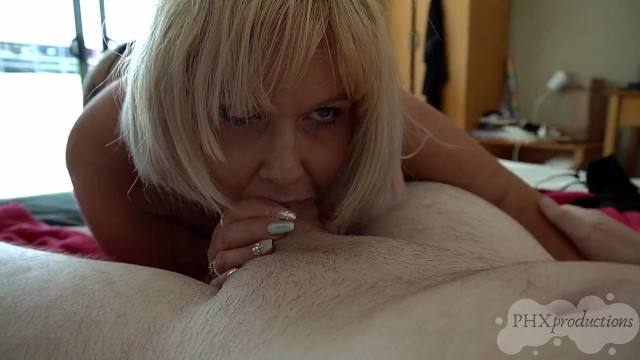 Deepthroated amateurs Stepmom shows son what being deepthroated feels like