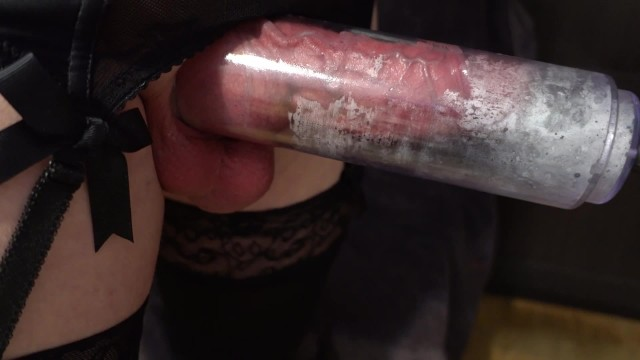 Shemale penis pump - Sissy pumped cock too much to masturbate in penis pump