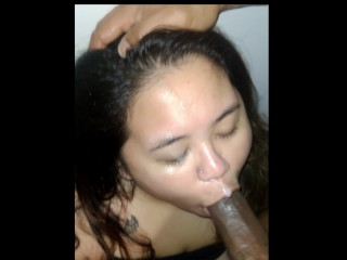 Thick Asian gets drenched in cum and keeps sucking (POV fan request)