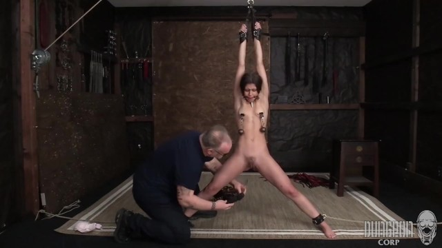 Stretching older adult Sexy latina submits to stretching and orgasms.
