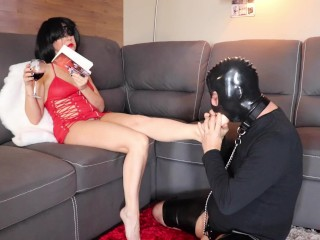 femdom chastity cuckold slave worships and sucks cruel goddess feet DAY#1