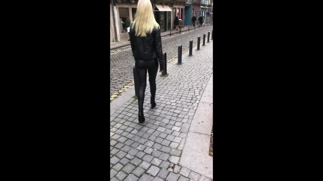 Nude walking with heels movie - Sexy public walk through the city in leather leggings and high heels