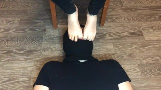 girl in ped nylon socks domination and mistress boy foot gagging