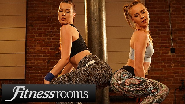 Fitness Rooms Flexible lesbian Alecia Fox and redhead Charlie Red twerk