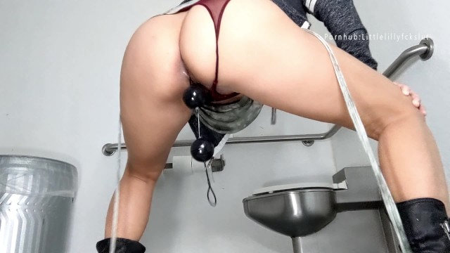 Milf anal beads Public bathroom anal training: big black anal beads stretching my asshole
