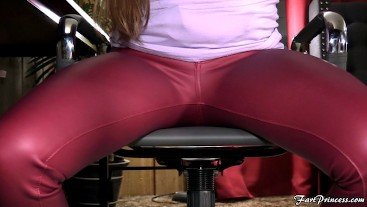 Candid Under Desk Farts in Red Pleather Pants - Fart Princess Kristi