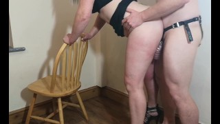 trying out the crotch rocket while hubby is in spiked chastity cage