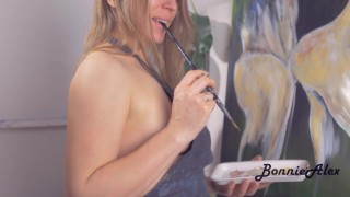 Romantic love-making in the artist's Studio. Passionate sex from couple.