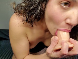 Latina riding and playing around with dildo
