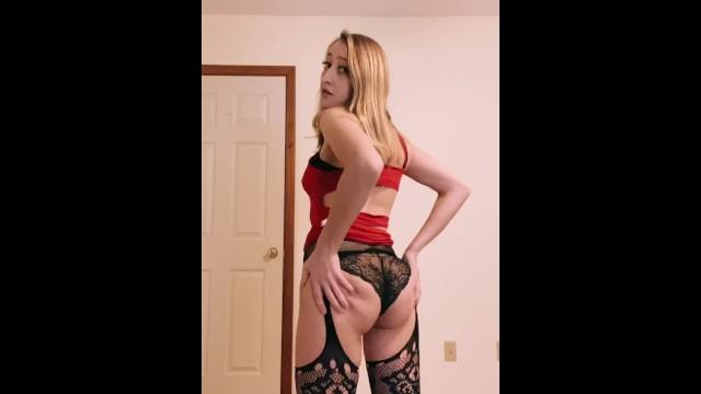 Blonde sexy strip - Amateur blonde sexy strip tease, rubbing pussy