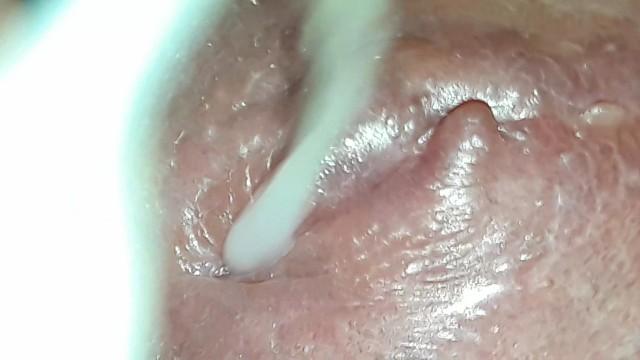 Semen on her vagina - Slow ejaculation of semen on your clitoris-close up