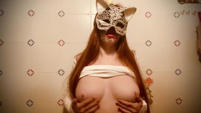 Latex foam halloween cat mask Natural redhead big natural boobs with sexy cat mask