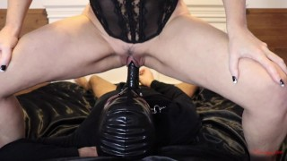 femdom chastity cuckold human toilet slave drinks piss from misstress