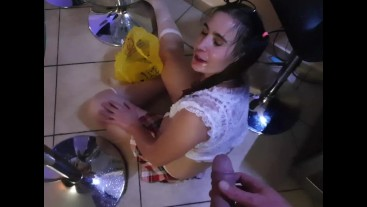 Surprise piss for teen on the floor
