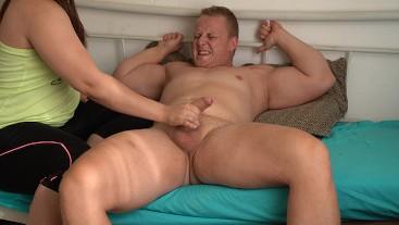 Intense Femdom Post Orgasm Cum Torture Handjob for Muscular Man