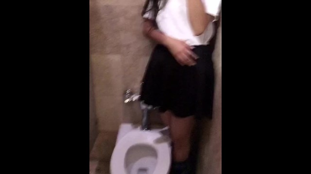 New national strip mall Public sex, whore student after school in the mens bathroom in the mall