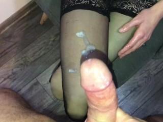 Slow handjob and massive cumshot on my sexy nylons