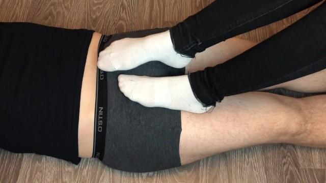 Underpants fetish - Teen white socks socksjob underpants, socks footjob foot fetish feet