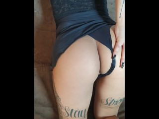 Hot tattoed girl on couch