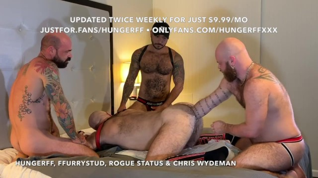 Four way gay Preview hungerff gets tag team fisted in hot four way justfor.fans/hungerff