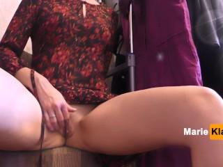 Innocent girl public masturbation in a dressing room to a trembling orgasm