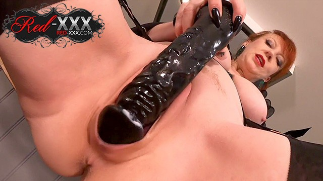 Mature fucked with dildo Red xxx fucking herself with a big black dildo