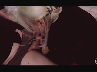 SENSUAL SEX BY THE FIREPLACE-BUSTY BLONDE PENETRATE AND SUCKING, ADELLA JAY
