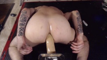 "Face Down Ass Up taking the whole 12"" dildo deep"