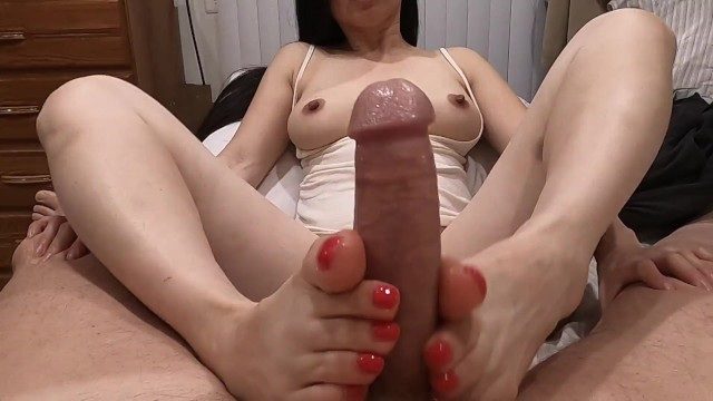 Jack off jill losing his touch - Footjob - pretty asian jacks him with her sexy feet - he cums on her toes