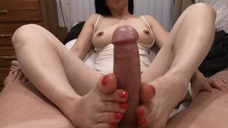 Footjob - Pretty Asian Jacks Him with Her Sexy Feet - He Cums on Her Toes!