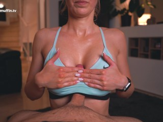 Ultra-hot sweaty fitness girl in sports bra gets my cum with her big tits!