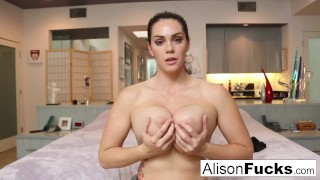 Busty Alison Tyler helps the viewer cum by making herself do the same!