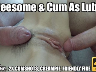 using his cum as lube