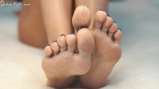 awesome feet and hands feather tease and oil massage close up