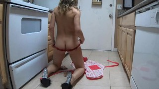 Impatient horny housewife MILF strips and cleans kitchen (gets facial)