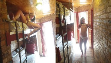 Teen massive piss from bunk bed