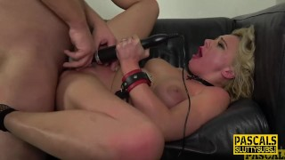 Restrained milf pounded and throated