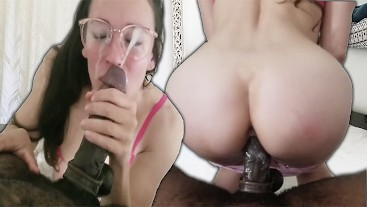 Brunette Girlfriend Sits On Thick BBC Until Cum Explodes On Glasses