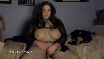 SILICONE RAQUEL PULLS OUT HER COCK AND CUMS - SILICONE RUBBERDOLL