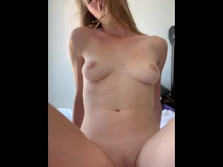 Fit and Beautiful blonde rides a huge cock in her dorm