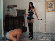 Latex Goddess uses caged Boot bitch - Femdom Worship - Young Goddess Kim