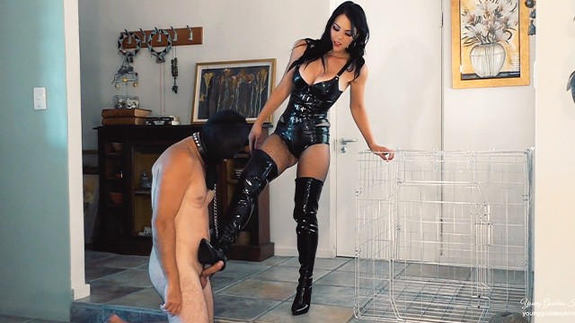 Acrylic latex caulk - Latex goddess uses caged boot bitch - femdom worship - young goddess kim