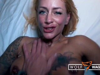 Sandy's Blind Date cums on her fake tits! WOLF WAGNER wolfwagner.love