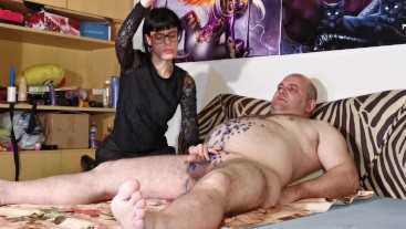 Goth domina wax torture her big belly fat slave HD FULL