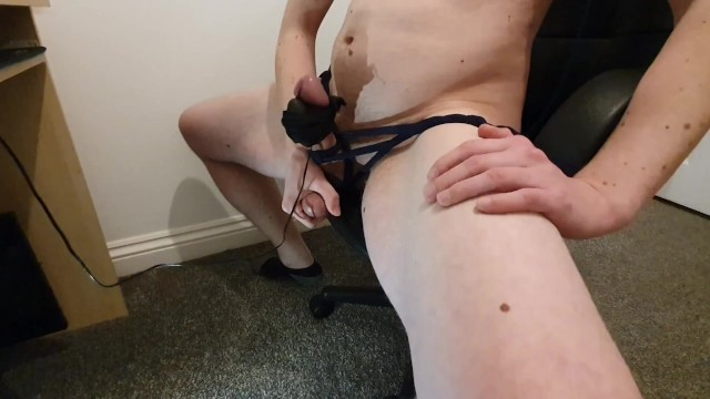 Bdsm queening chair - Cock bdsm moaning and cumming tied to my office chair - tiedtocum