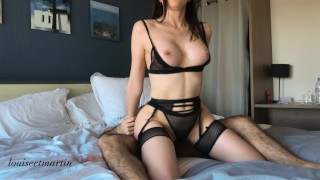 Hard Intense Fuck - Double Cumshot for a Sexy in Black Lingerie | 4k