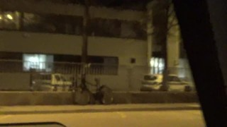 Public threesome sex in front of a police station during the quarantine!!!