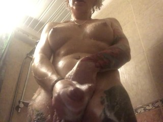 hot russian shemale takes shower and shave her girly dick and jerks off